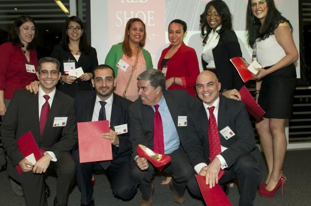 De derecha a izquierda cuatro hombres que apoyaron el primer evento del RSM en el New York Times: Marcelo Silbert, Carlos Vassallo, Mario Saavedra García y Eric Di Monte.