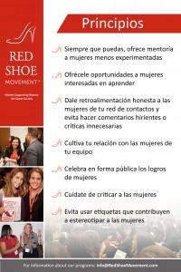 Adopta los Principios del Red Shoe Movement en tu organización para fomentar un ambiente positivo y de apoyo mutuo y verás cómo se acelera el crecimiento de las mujeres en tu plantel.