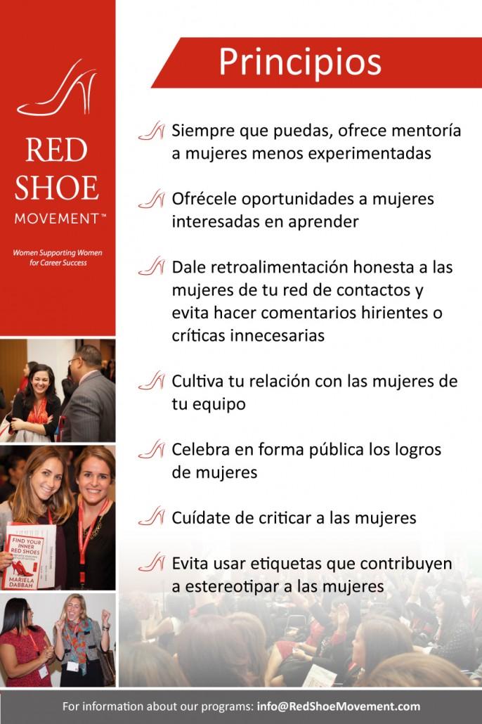 Desarrolla liderazgo organizacional! Adopta los Principios del Red Shoe Movement en tu organización para fomentar un ambiente positivo y de apoyo mutuo y verás cómo se acelera el crecimiento de las mujeres en tu plantel.