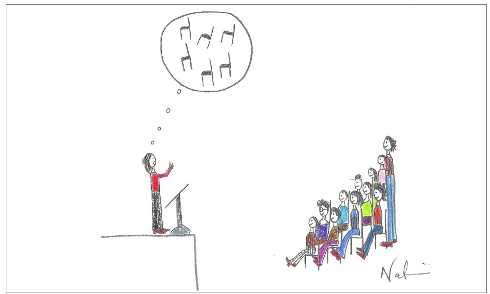 Temor de hablar en público ilustración de Nadia Ackerman