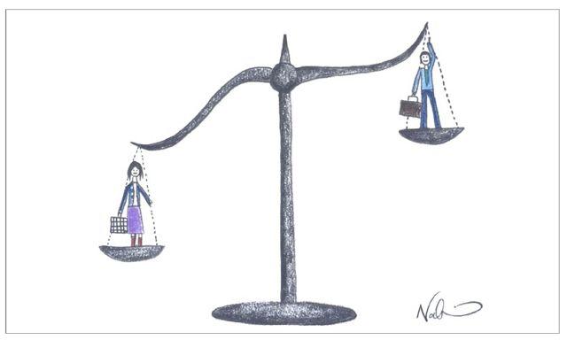 Dibujo sexismo balanza con hombre y mujer