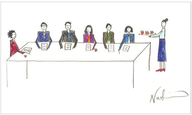 Dibujo sobre sexismo mujer sirviendo cafe a hombres