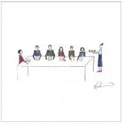 Dibujo sobre sexismo por Natchie - Hombres y mujeres sentados a una mesa de trabajo y una mujer sirve cafe