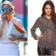 Dos mujeres, una vestida profesional y la otra con blusa transparente y pantalones de cuero