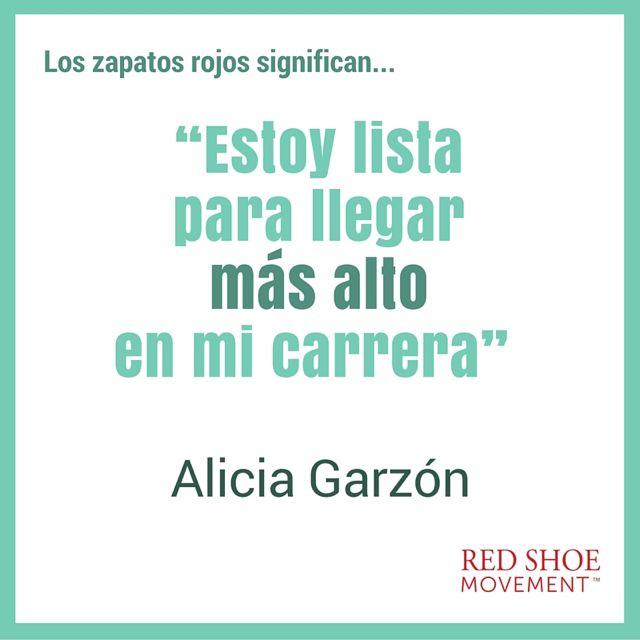 Alicia Garzón está lista para llegar más alto en su carrera con sus zapatos rojos.