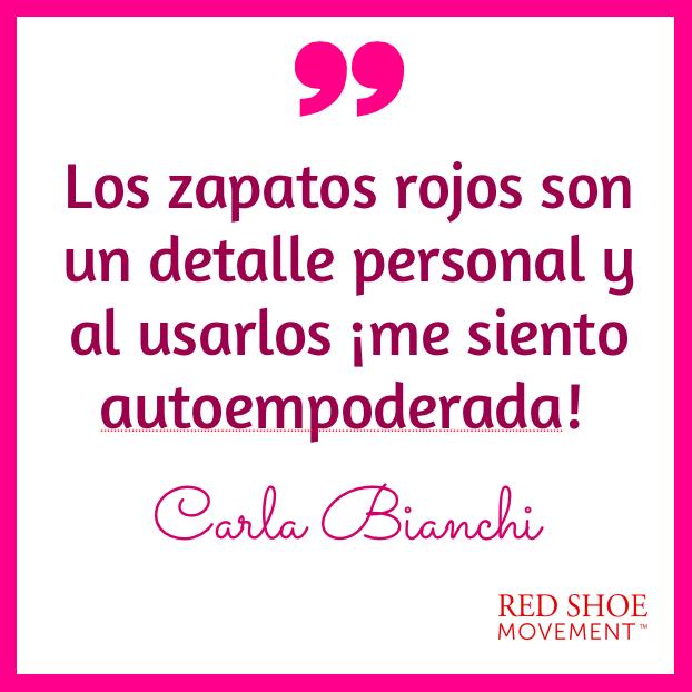 Carla Bianchi frase inspiradora sobre el significado del zapato rojo