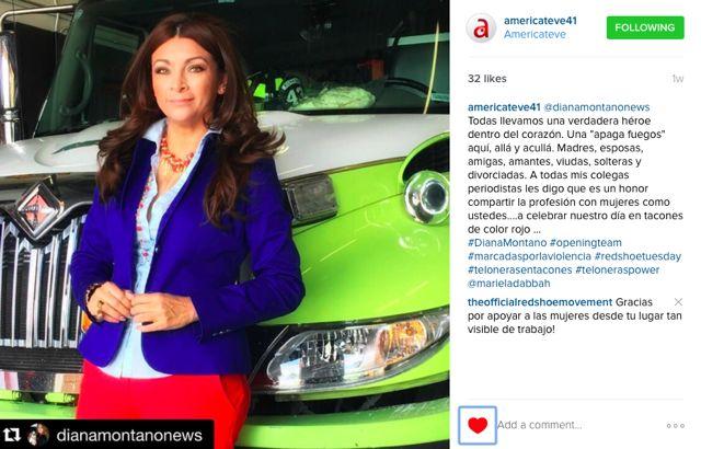 La periodista Diana Montaño, Embajadora del Red Shoe Movement conduce un segmento semanal del RSM en AmericaTeve en Miami.