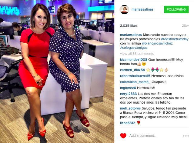 Las reconocidas y premiadas periodistas de Univision María Elena Salinas y Blanca Rosa Vilchez son madrinas del Red Shoe Movement.