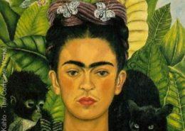 Frida Kahlo self portrait with monkeys