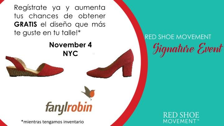 Dos opciones de zapatos diseñados exclusivamente para el Red Shoe Movement por Farylrobin. Regístrate hoy para nuestro evento y elige el tuyo!