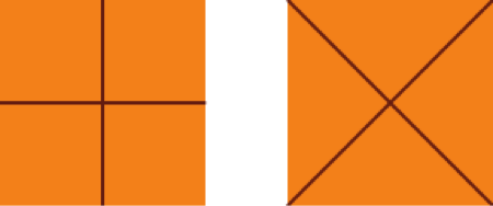 Solucion 1 para dividir un cuadrado en cuatro partes iguales