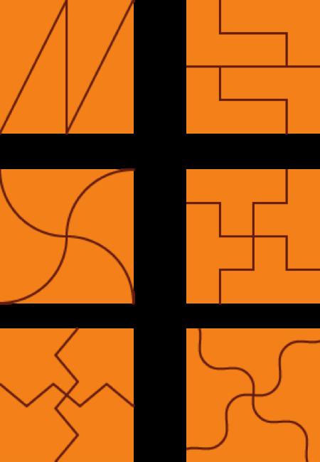 Solución 3 para dividir un cuadrado en cuatro partes iguales