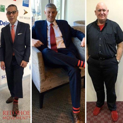 Los hombres que apoyan #RedShoeTuesday y #RedLookBook semanalmente apoyan equidad de género. De Izquierda a derecha: Jaime Fuertes, ThomsonReuters, Marcelo Weilmann, ThomsonReuters, Miguel Alemany, P&G