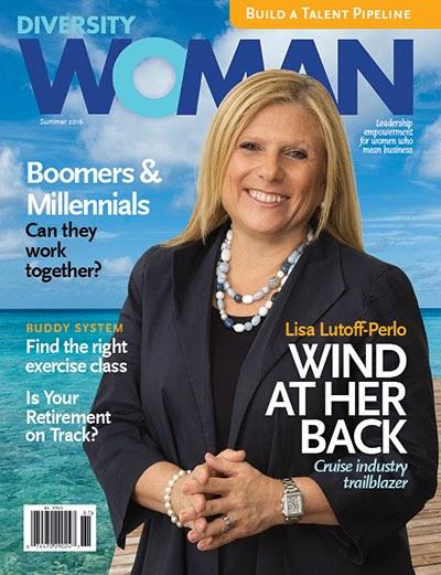 Lisa Lutoff-Perlo, ganadora del Salón de la Fama 2017, en la tapa de Diversity Woman, publicación de Sheila Robinson, ganadora de este año.