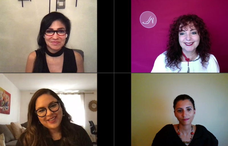 Sesión mensual online del programa Step Up Plus del Red Shoe Movement. Hablamos sobre practicar alianzas. De arriba izquierda según sentido agujas del reloj: Dr. Lily Benjamin, Mariela Dabbah, Dr. Amna Kooli, Annerys Rodriguez.